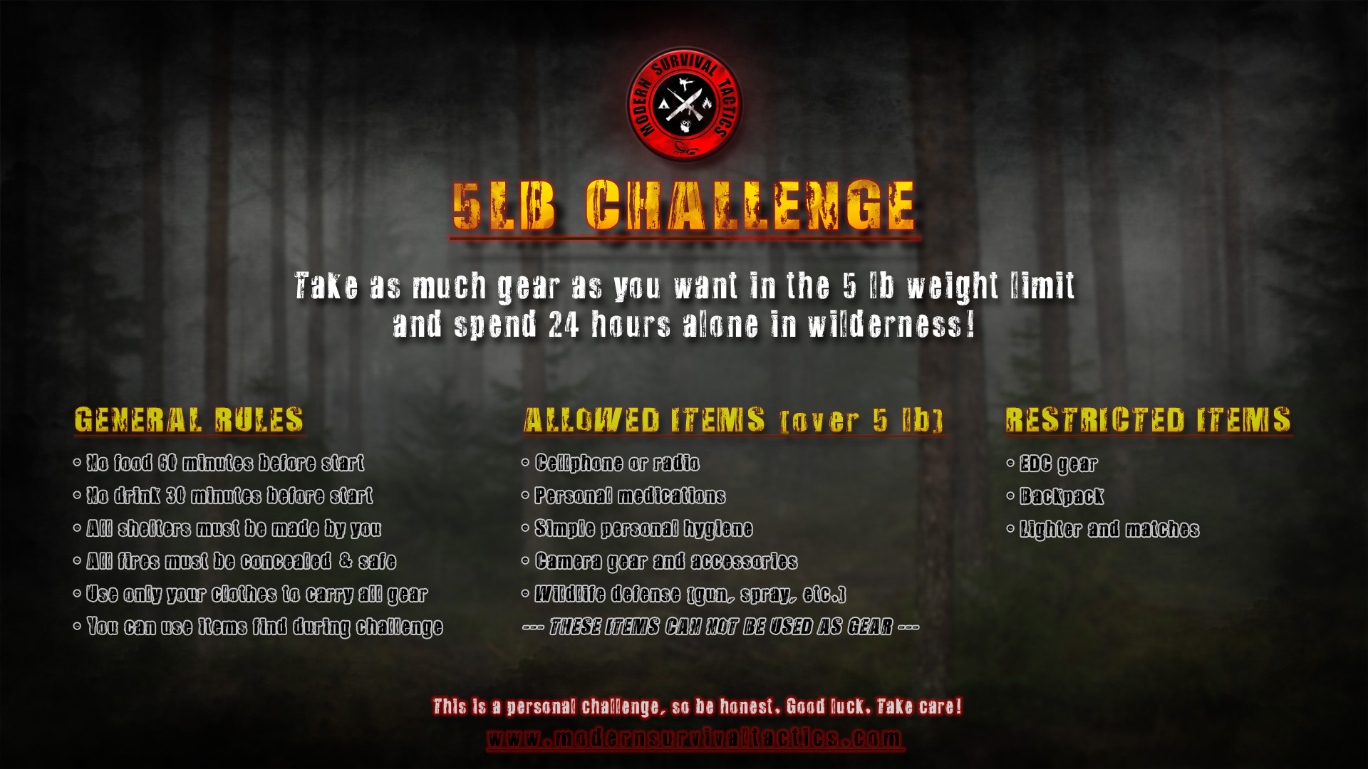 5lb Challenge Rules